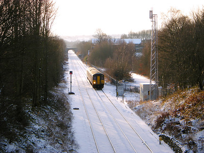 150224 passes a snowy Wyke on the 23rd December 2009