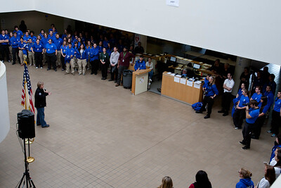 CNCS, CEO Wendy Spencer speaking to FEMA Corps members at the FEMA JFO - Lincroft, NJ. Corporation for National and Community Service Photo.