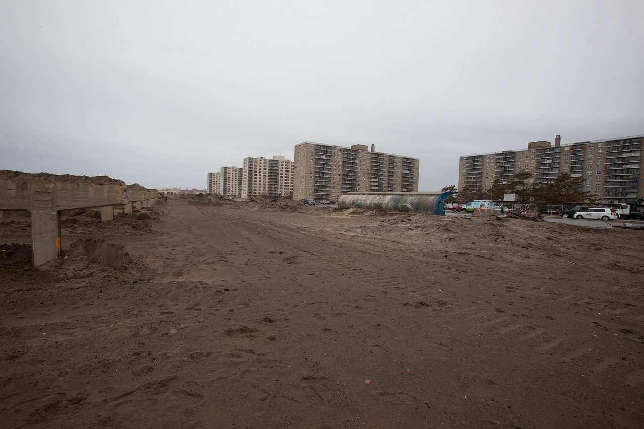 Destroyed boardwalk on Rockaway Beach in NY. Corporation for National and Community Service Photo.