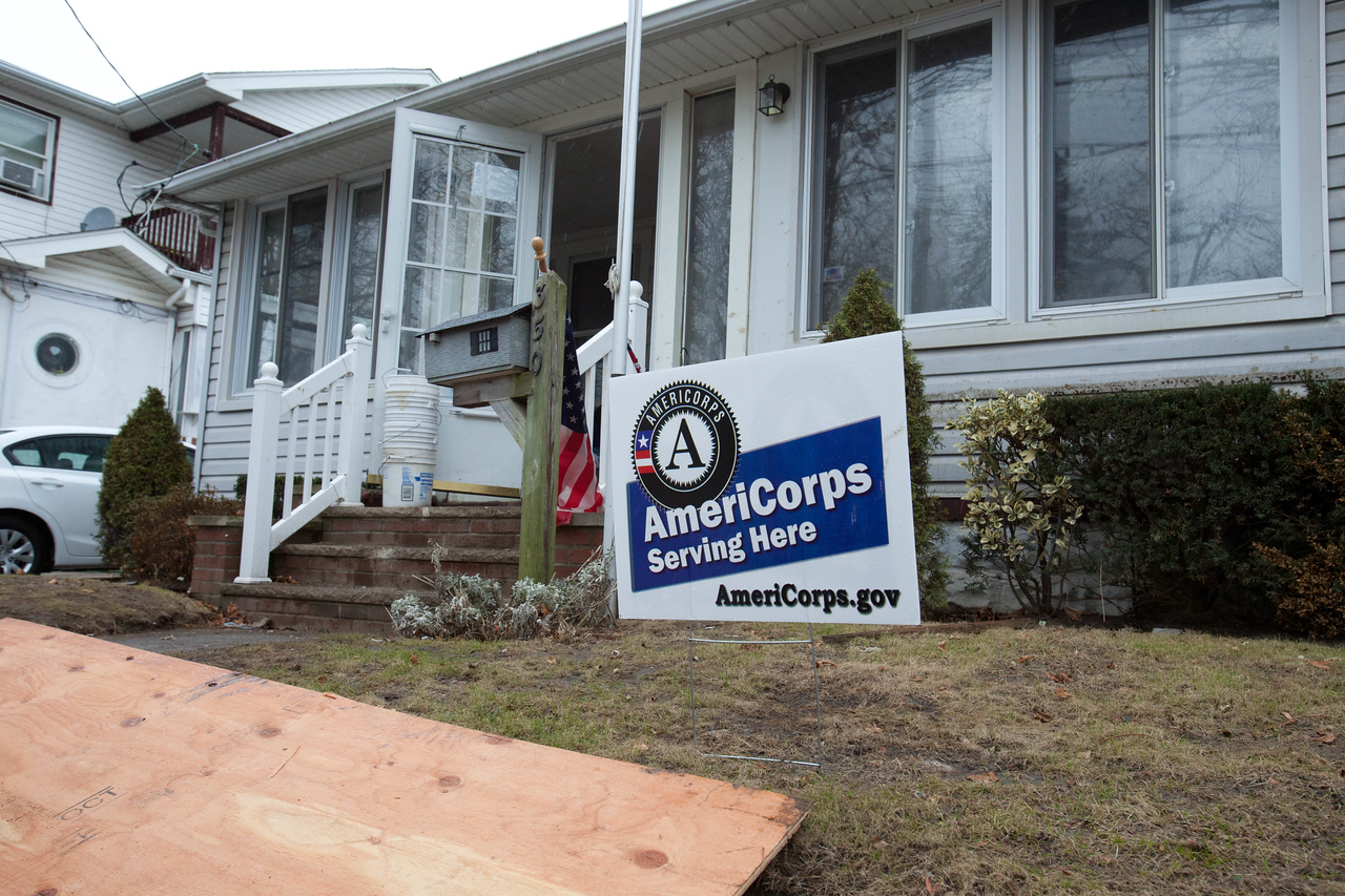 AmeriCorps serving at a home in Belle Harbor, NY. Corporation for National and Community Service Photo.
