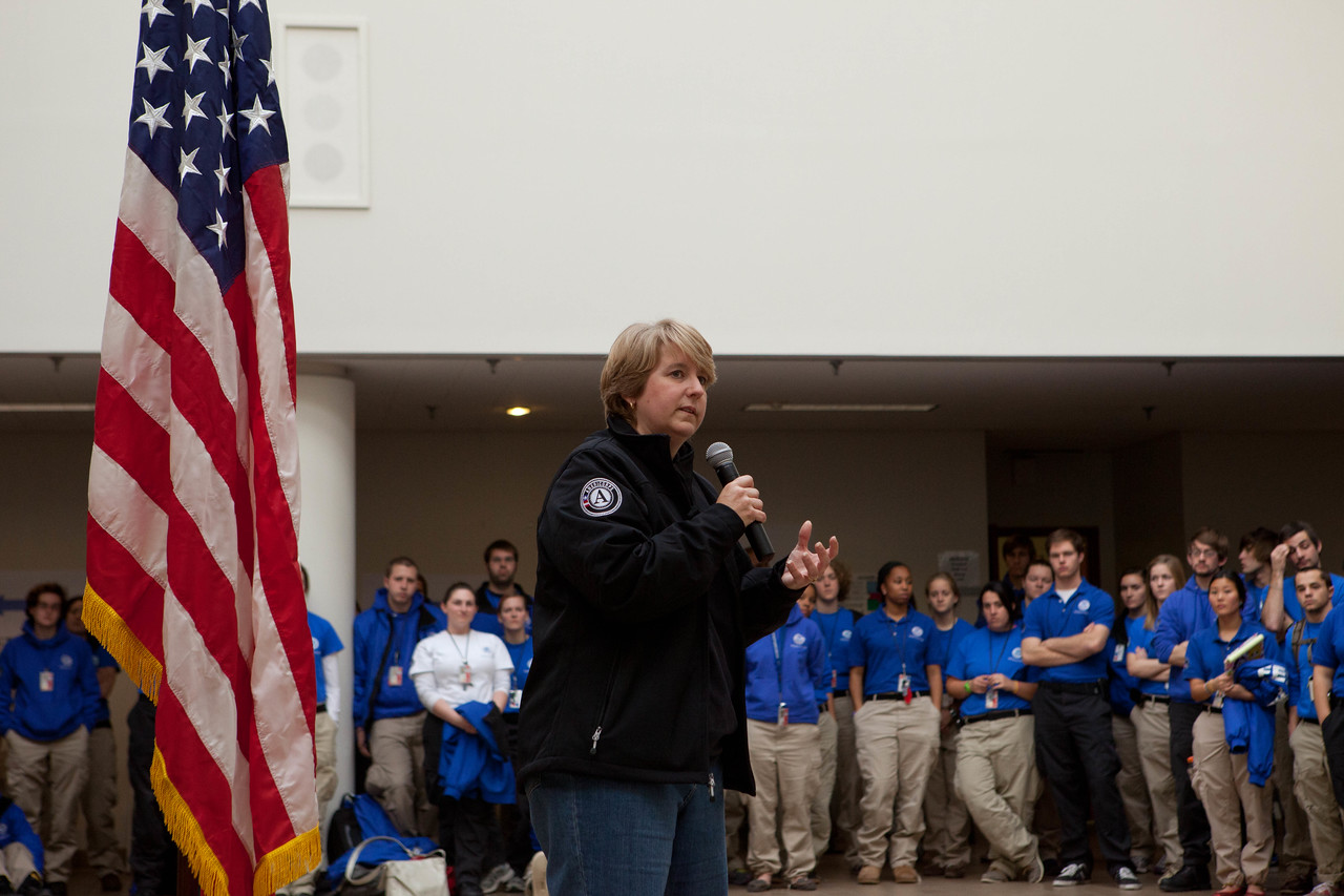 CNCS CEO, Wendy Spencer speaks to FEMA Corps members at the JFO in Lincroft, NJ. Corporation for National and Community Service Photo.