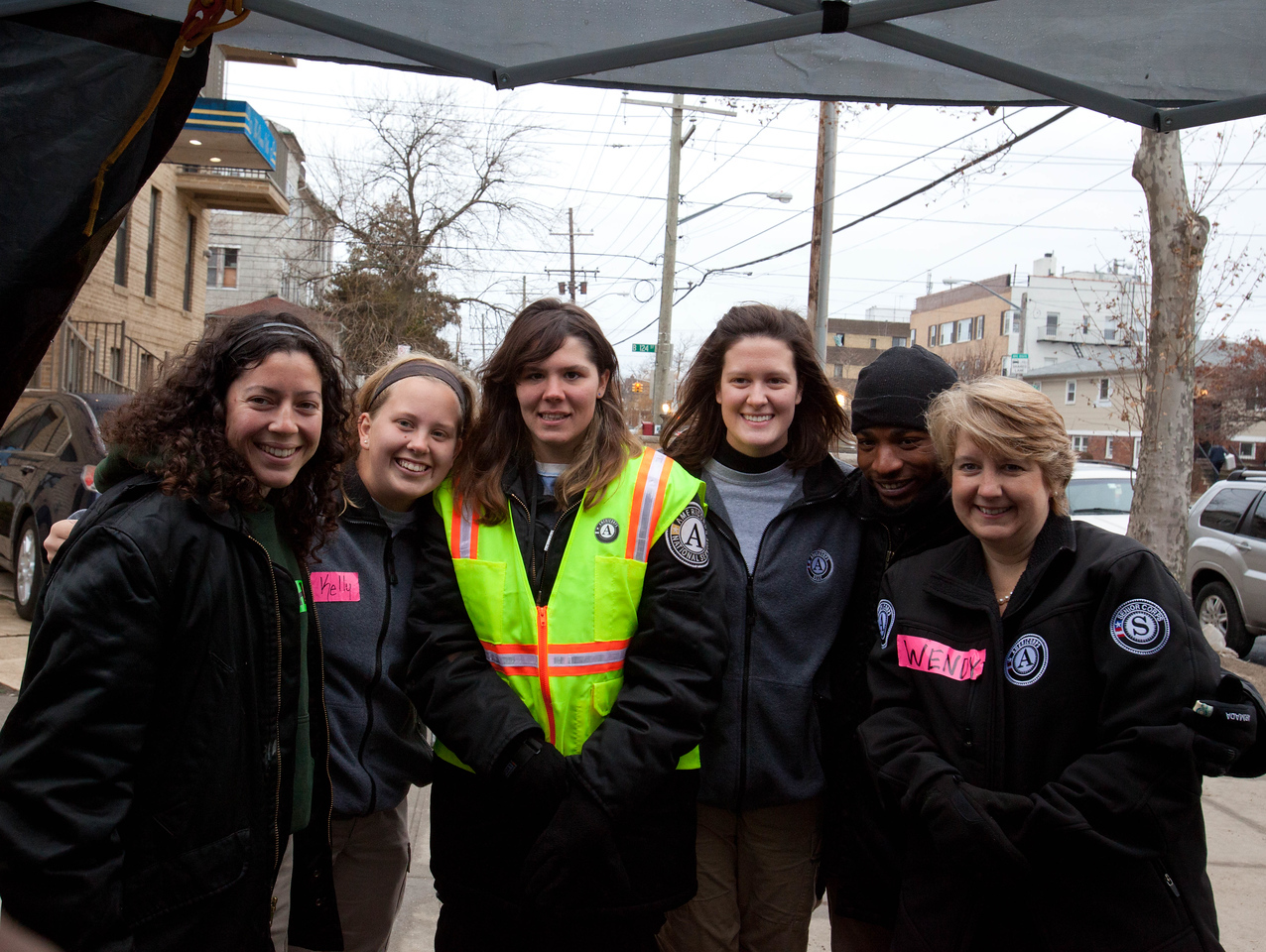 CNCS CEO Wendy Spencer with AmeriCorps members working at the volunteer reception center - Forward Operating Base (FOB Hope), Far Rockaway, NY. Corporation for National and Community Service Photo.