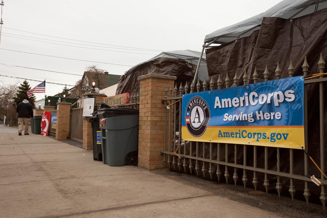 Volunteer reception center - Forward Operating Base (FOB Hope), Far Rockaway, NY. Corporation for National and Community Service Photo.