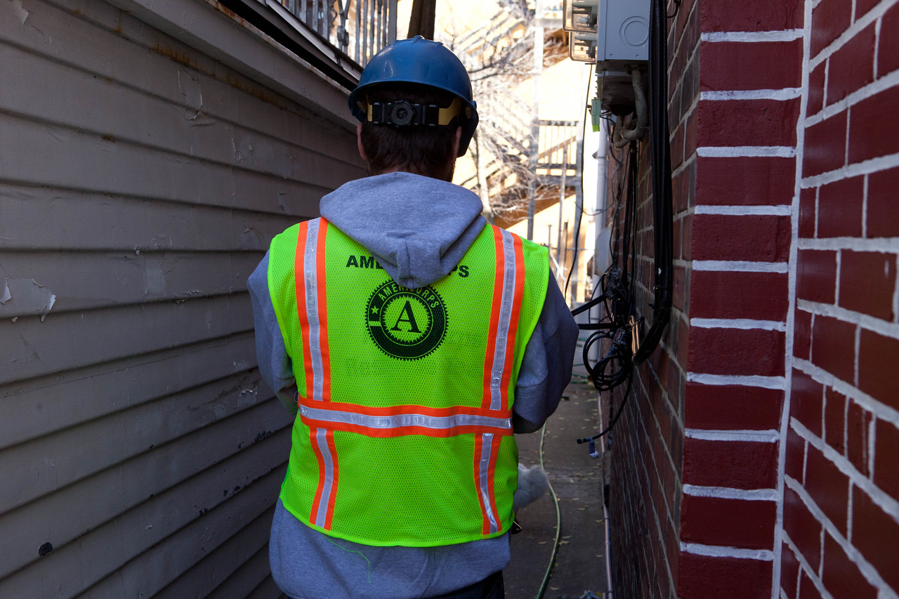 An AmeriCorps member in Atlantic City, NJ during the response to Hurricane Sandy in 2012. Corporation for National and Community Service Photo.