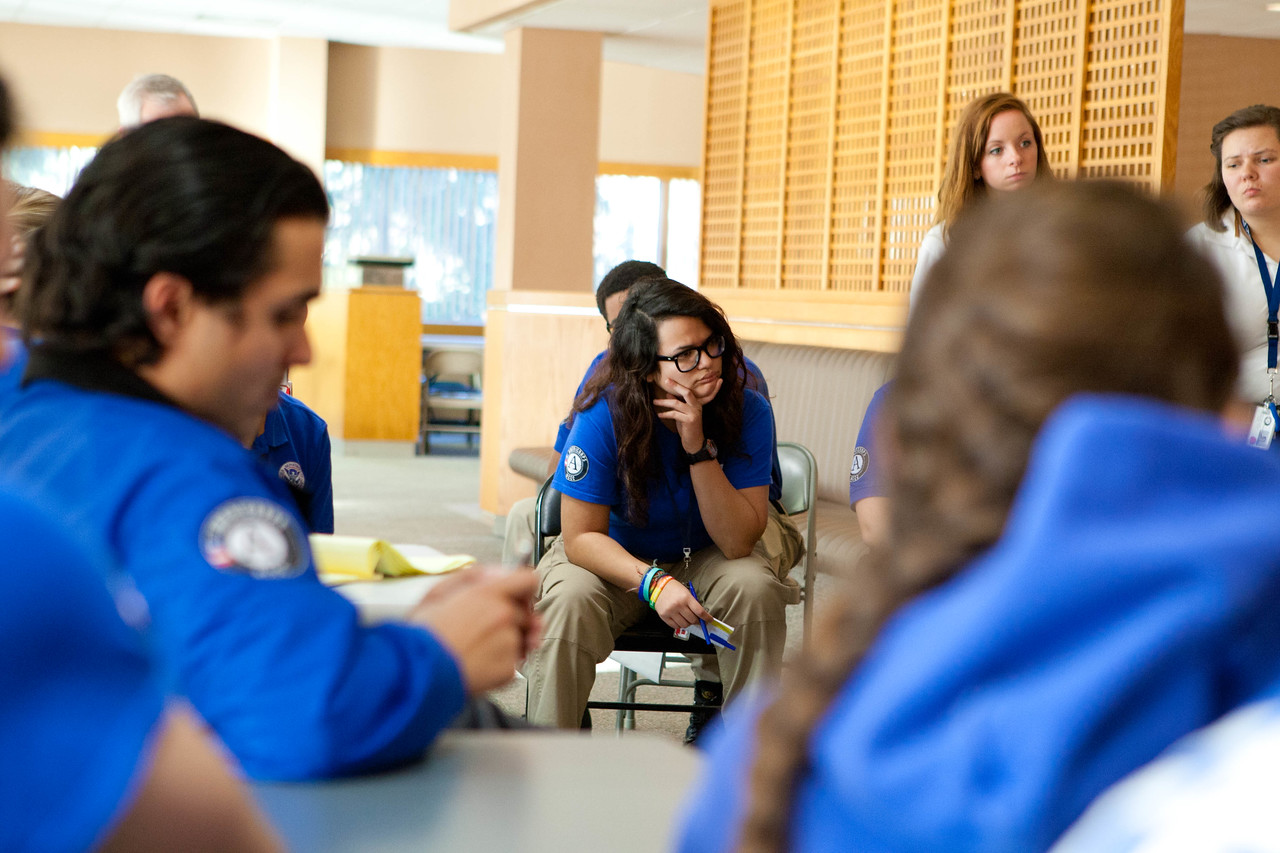 FEMA Corps members listening to CNCS, CEO Wendy Spencer at the FEMA JFO in Lincroft, NJ. Corporation for National and Community Service Photo.