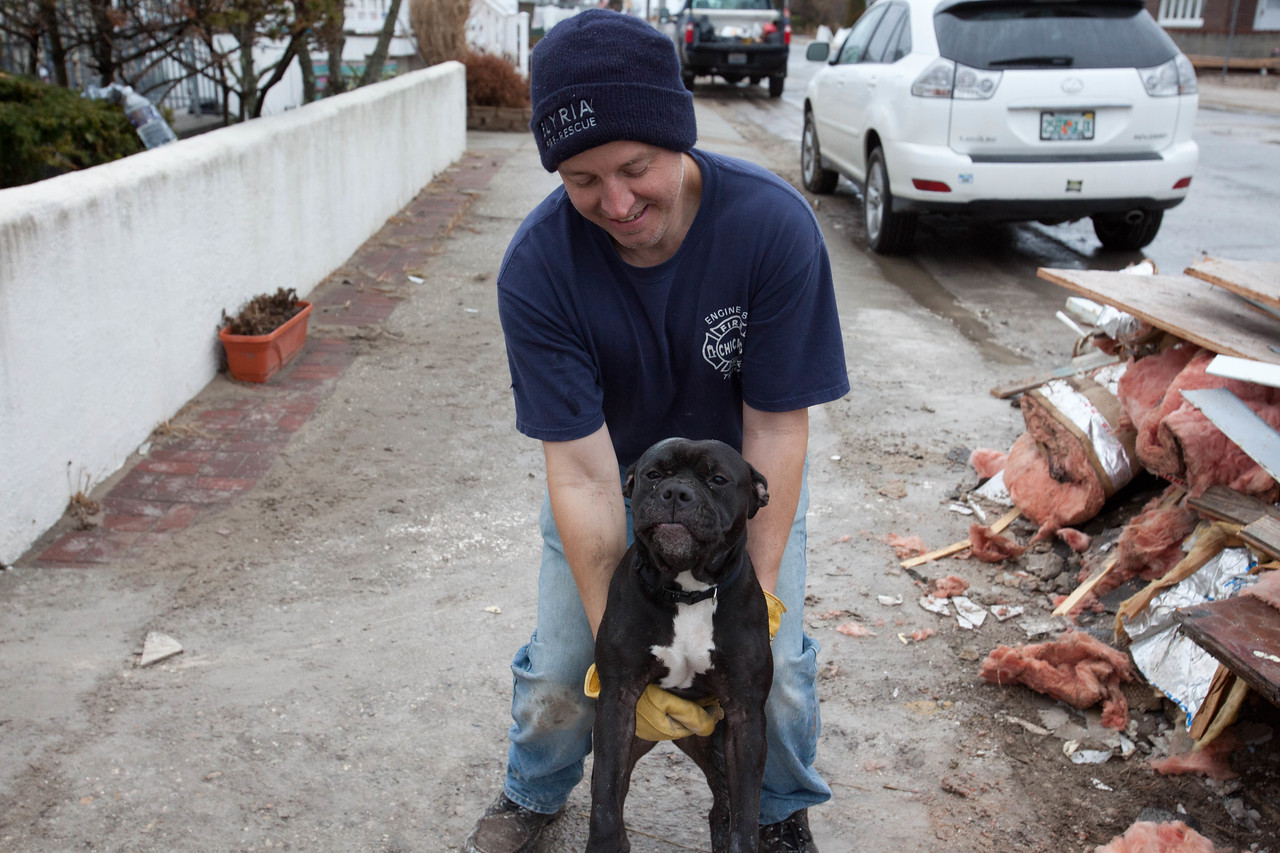 New York City firefighter Phil Pillet with his dog Yoda in front of damaged home, Breezy Point, NY. Pillet led Operation Gut and Pump volunteer reception center. Corporation for National and Community Service Photo.