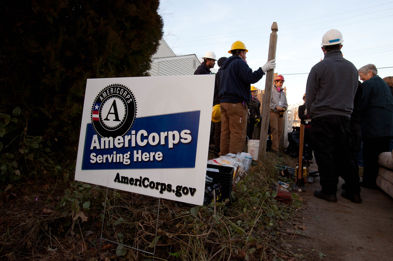 AmeriCorps members from the Washington Conservation Corps and AmeriCorps St. Louis members in Union Beach, NJ during the response to Hurricane Sandy in 2012. Corporation for National and Community Service Photo.