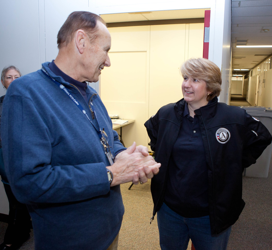 FEMA FCO, Mike Hall meets with CNCS CEO Wendy Spencer at the JFO in Lincroft, NJ.Corporation for National and Community Service Photo.