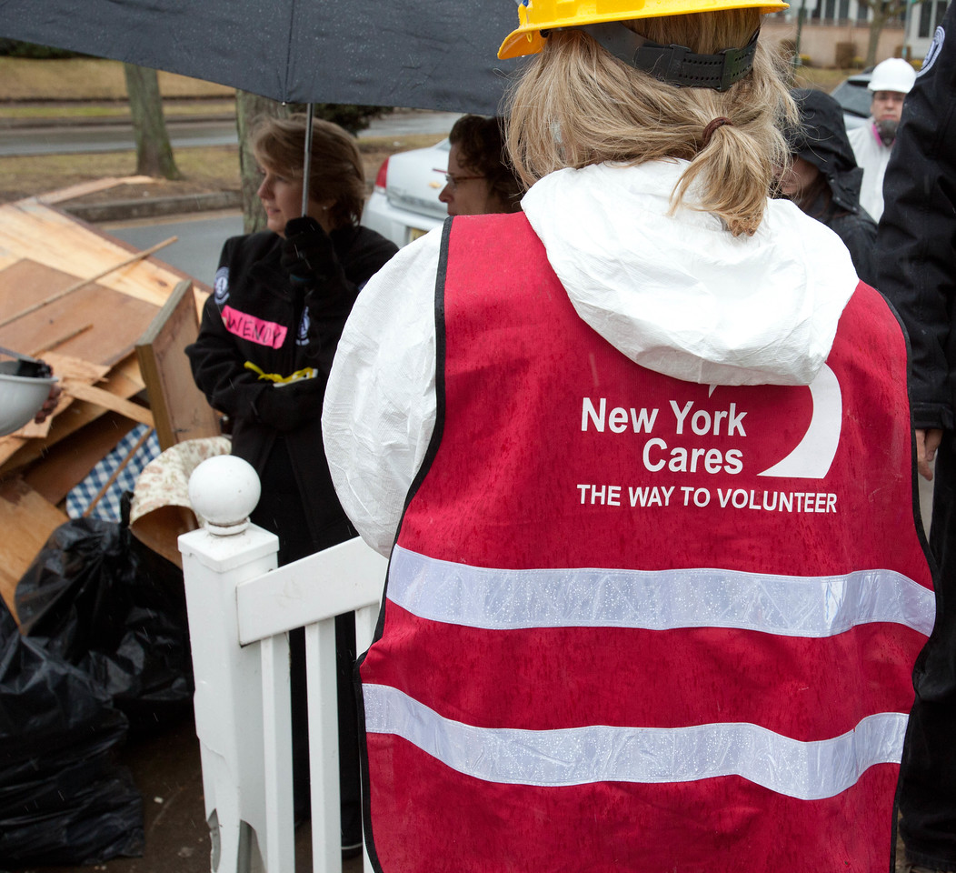 Volunteer at a home in Belle Harbor, NY damaged by Hurricane Sandy. Corporation for National and Community Service Photo.