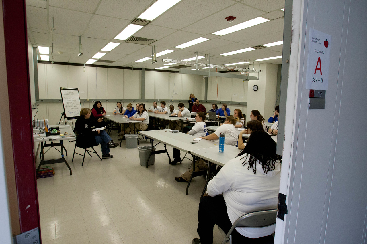 CNCS, CEO Wendy Spencer speakingwith FEMA Corps members at the FEMA JFO - Lincroft, NJ. Corporation for National and Community Service Photo.