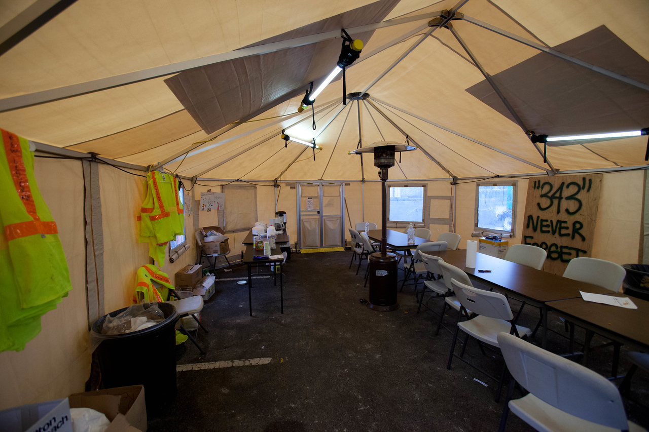 Volunteer intake tent at Operation Gut and Pump volunteer reception center, Breezy Point, NY. Corporation for National and Community Service Photo.