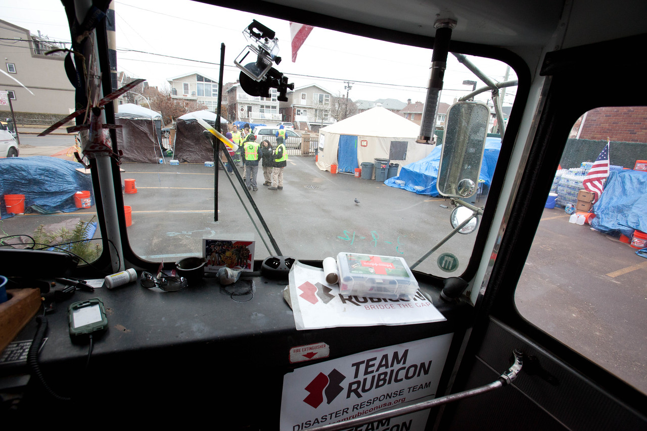 Command center bus at the volunteer reception center - FOB Hope, Far Rockaway, NY.  Corporation for National and Community Service Photo.