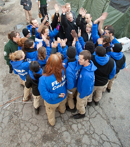 Corporation for National and Community Service CEO Wendy Spencer leads FEMA Corps members in a cheer after energizing them with a motivational talk in Far Rockaway, NY. (Corporation for National and Community Service photo)