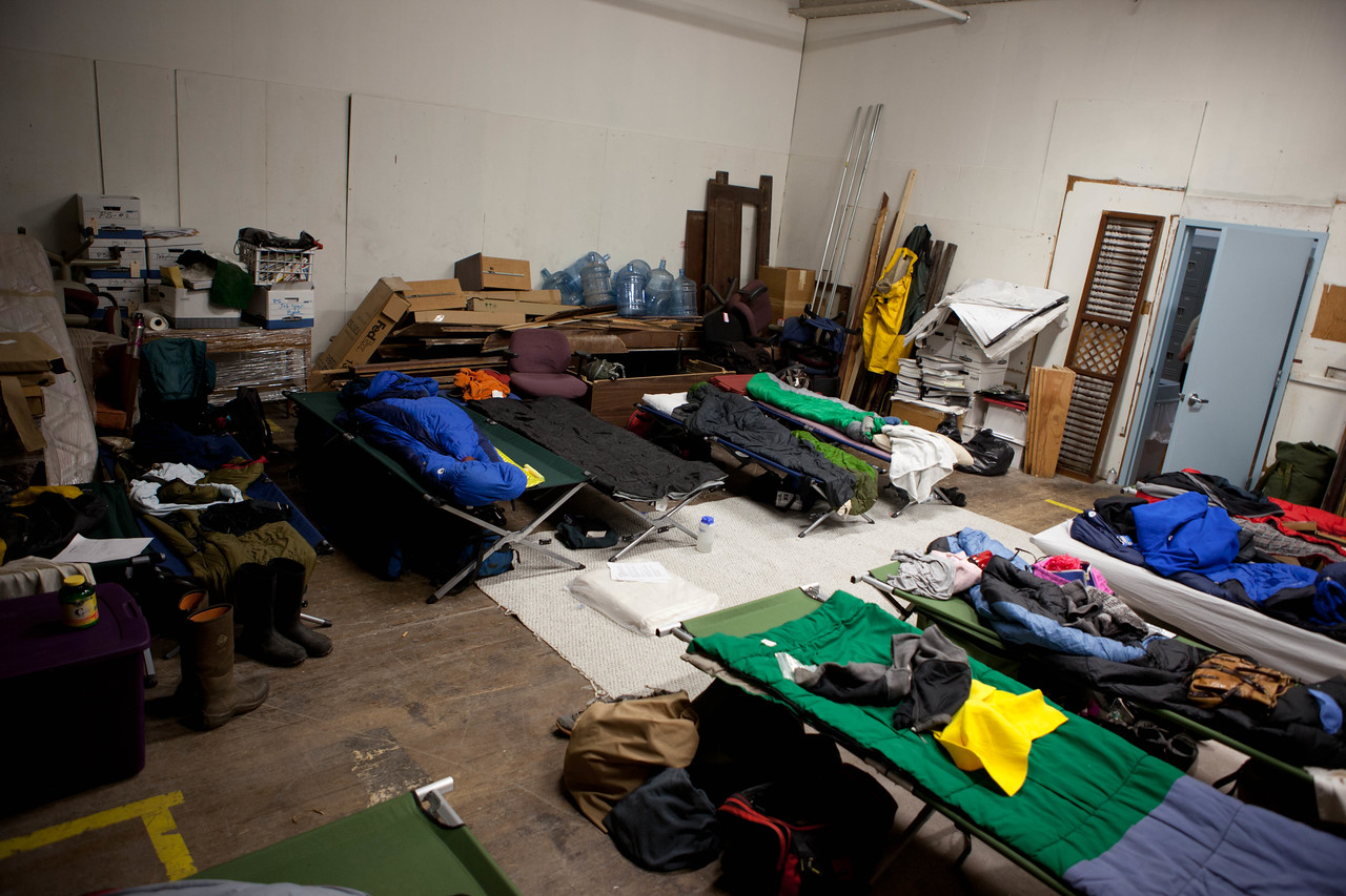 AmeriCorps members sleeping quarters at the Park Slope Armory in Brooklyn, NY. Site of one of several shelters in the borough that housed hurricane Sandy survivors. Corporation for National and Community Service Photo.