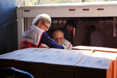 Red Cross volunteers load trucks with supplies at the distribution center in Somerset, NJ. Corporation for National and Community Service Photo.