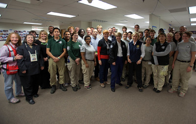 CNCS CEO, Wendy Spencer, White House Director of the Office of Social Innovation and Civic Participation in the Domestic Policy Council, Jonathan Greenblatt and Lt. Governor Kim Guadagno, NJ with AmeriCorps members, Red Cross volunteers and staff at NJ headquarters in North Brunswick Township, NJ. Corporation for National and Community Service Photo.