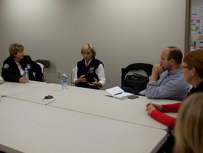 CNCS CEO, Wendy Spencer, Lt. Governor Kim Guadagno, NJ, and White House Director of the Office of Social Innovation and Civic Participation in the Domestic Policy Council, Jonathan Greenblatt discuss disaster response at the Red Cross headquaters in North Brunswick Township, NJ. Corporation for National and Community Service Photo.