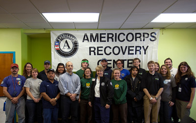 White House Director of the Office of Social Innovation and Civic Participation in the Domestic Policy Council Jonathan Greenblatt and CNCS CEO, Wendy Spencer with AmeriCorps members during the response to Hurricane Sandy in November 2012. Corporation for National and Community Service Photo.