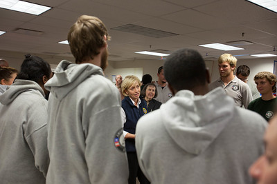 Lt. Governor Kim Guadagno, NJ, speaks to AmeriCorps members at the Red Cross NJ headquarters in North Bruwnswick Township, NJ. Corporation for National and Community Service Photo.