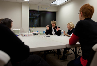 CNCS CEO, Wendy Spencer and Lt. Governor Kim Guadagno, NJ discuss disaster response at the Red Cross headquaters in North Brunswick Township, NJ. Corporation for National and Community Service Photo.