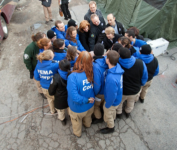 CNCS CEO Wendy Spencer and Director of the Office of Social Innovation and Civic Participation in the Domestic Policy Council, Jonathan Greenblatt lead FEMA Corps, a unit of AmeriCorps NCCC, members in a cheer. Far Rockaway, NY. Corporation for National and Community Service Photo.