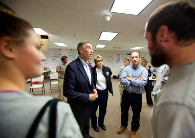 U.S. Rep. Rush Holt (NJ) speaks to AmeriCorps members at the Red Cross Operations Center in Brunswick, NJ, with (L-R) CNCS CEO Wendy Spencer and White House Director of the Office of Social Innovation and Civic Participation Jonathan Greenblatt. (Corporation for National and Community Service photo)
