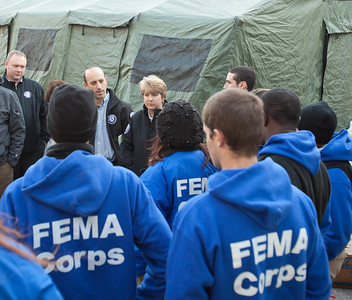 CNCS CEO, Wendy Spencer addresses FEMA Corps, a unit of AmeriCorps NCCC, members in Far Rockaway, NY. Corporation for National and Community Service Photo.
