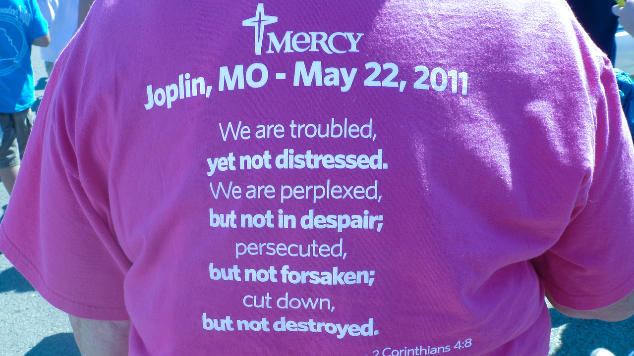Participant t-shirt in the Walk of Unity in Joplin, MO. Corporation for National and Community Service Photo.