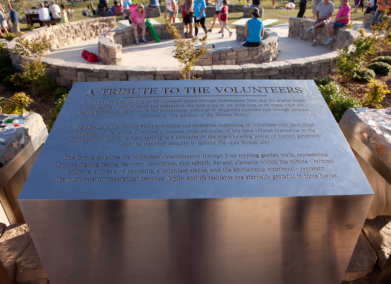A portion of 'The Miracle of Human Spirit' memorial in Cunningham Park recognizes the volunteers who responded to the tornado after it tore through Joplin, MO on May 22, 2011. Corporation for National and Community Service Photo