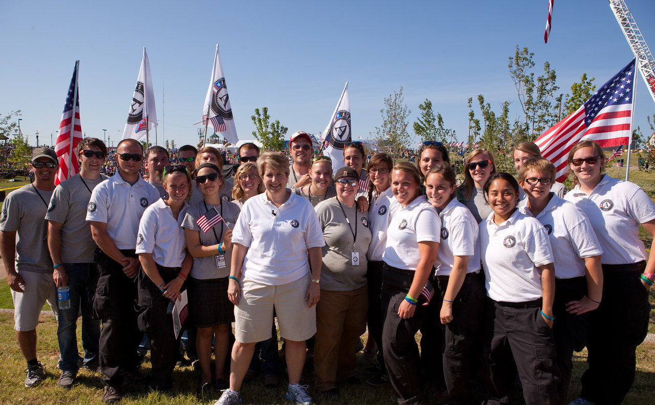 Wendy Spencer, CEO of the Corporation for National and Community Service, with the AmeriCorps members currently serving in Joplin, MO during the May 22 Walk of Unity. Corporation for National and Community Service Photo