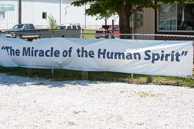 The Miracle of the Human Spirit banner outside the AmeriCorps Recovery Center in Joplin, MO. Corporation for National and Community Service Photo
