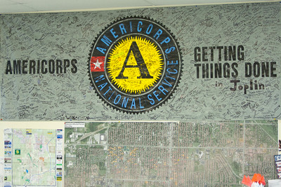 AmeriCorps banner at the AmeriCorps Recovery Center in Joplin, MO. Corporation for National and Community Service Photo