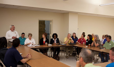(Standing) Executive Director of AmeriCorps St. Louis, Bruce Bailey at non profit and faith based leaders meeting at Joplin City Hall to discuss progress of the recovery and lessons learned. Corporation for National and Community Service Photo.