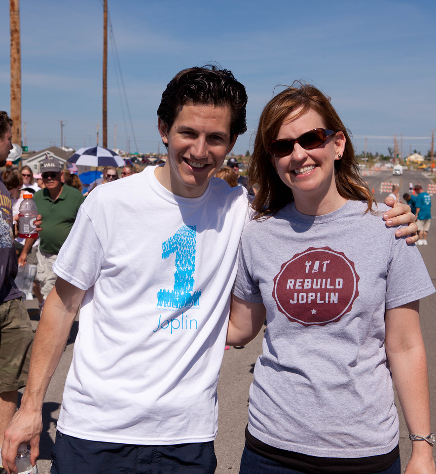 Two Joplin citizens participating in the Walk of Unity in Joplin, MO. Corporation for National and Community Service Photo