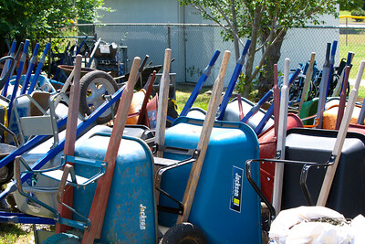 Wheelbarrows at AmeriCorps Recovery Center, Joplin, MO. Corporation for National and Community Service Photo