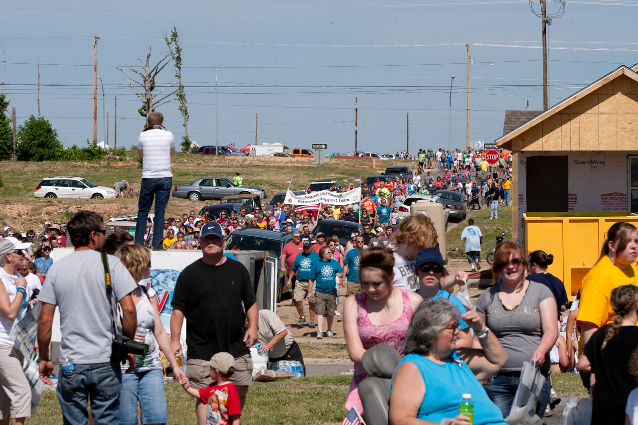 Citizens walking in the May 22 Walk of Unity in Joplin, MO, marking the one-year anniversary of the 2011 tornado. Corporation for National and Community Service Photo