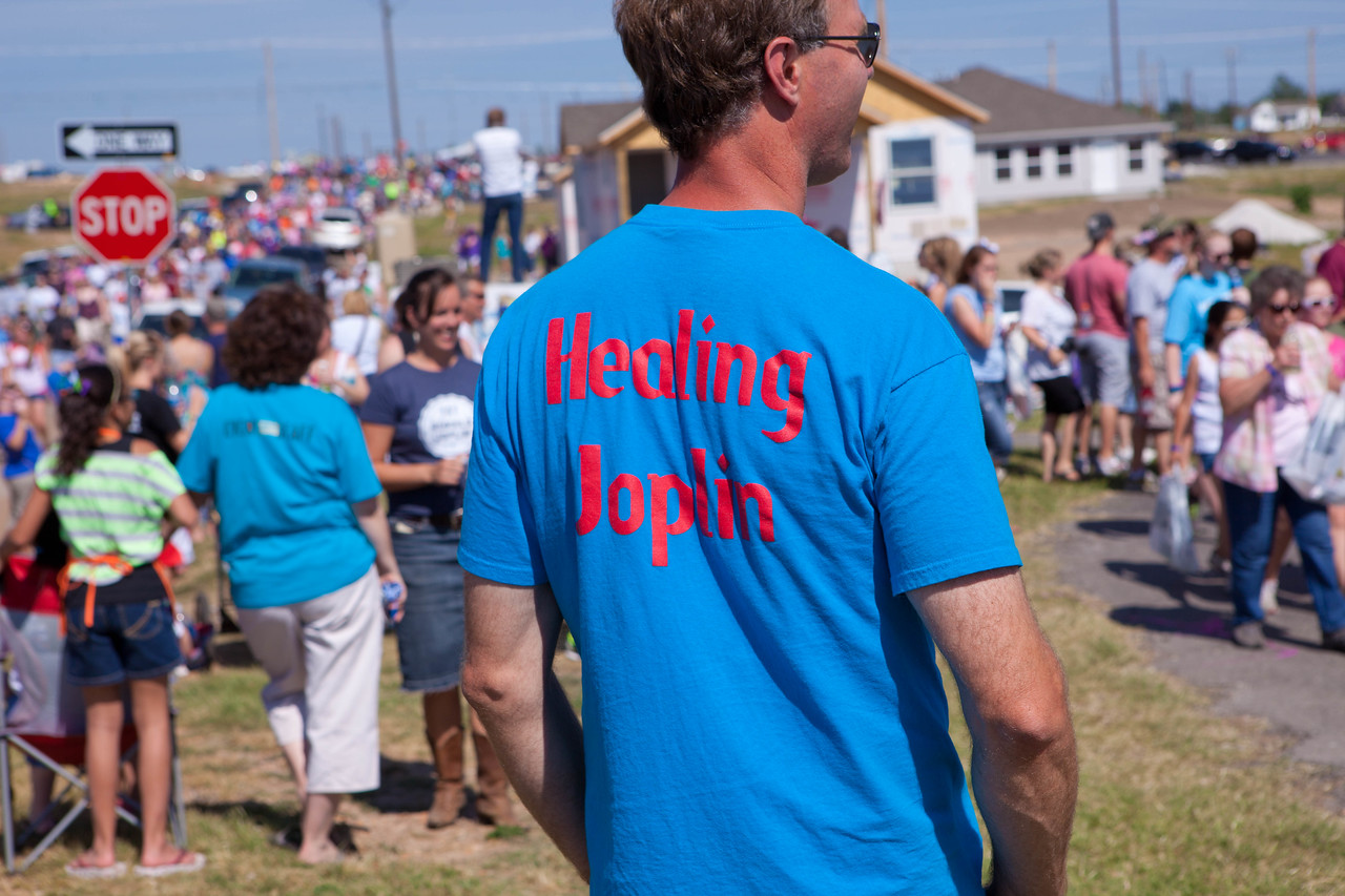 A man dons a tee shirt displaying his support for Joplin, MO. Corporation for National and Community Service Photo