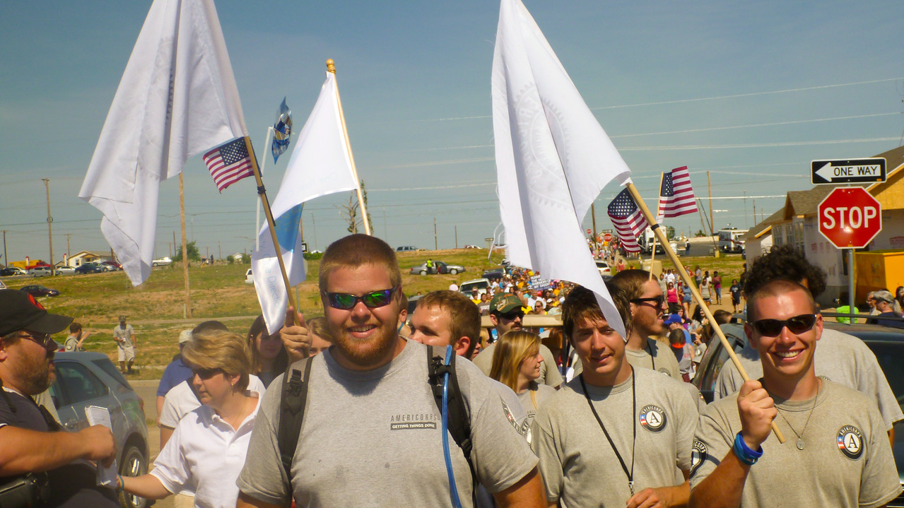 AmeriCorps members participating in the Walk of Unity in Joplin, MO. Corporation for National and Community Service Photo.