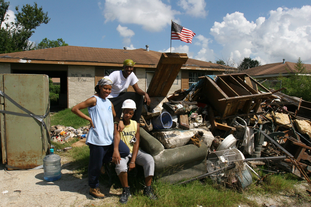 AmeriCorps members and volunteers help the community rebuild in St. Bernard Parish, LA, on the first anniversary of the Hurricane Katrina recovery in 2006. (Corporation for National and Community Service photo)