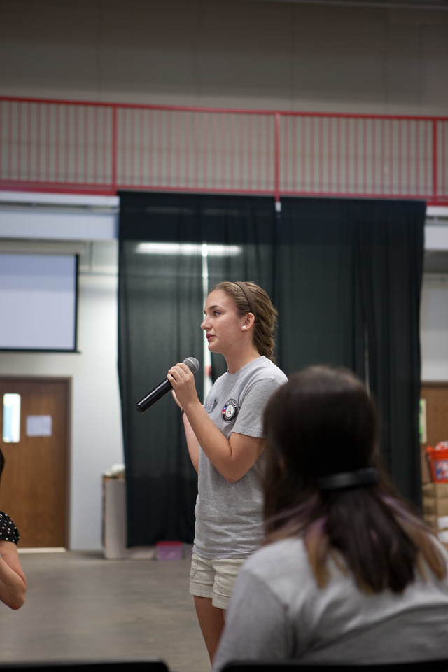 AmeriCorps member speaking at the town hall in Moore, OK. Corporation for National and Community Service Photo.
