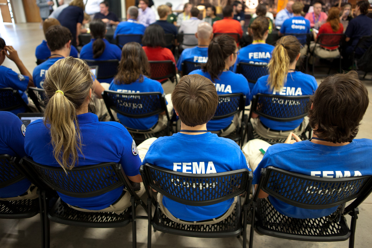 FEMA Corps members at the town hall in Moore, OK. Corporation for National and Community Service Photo.