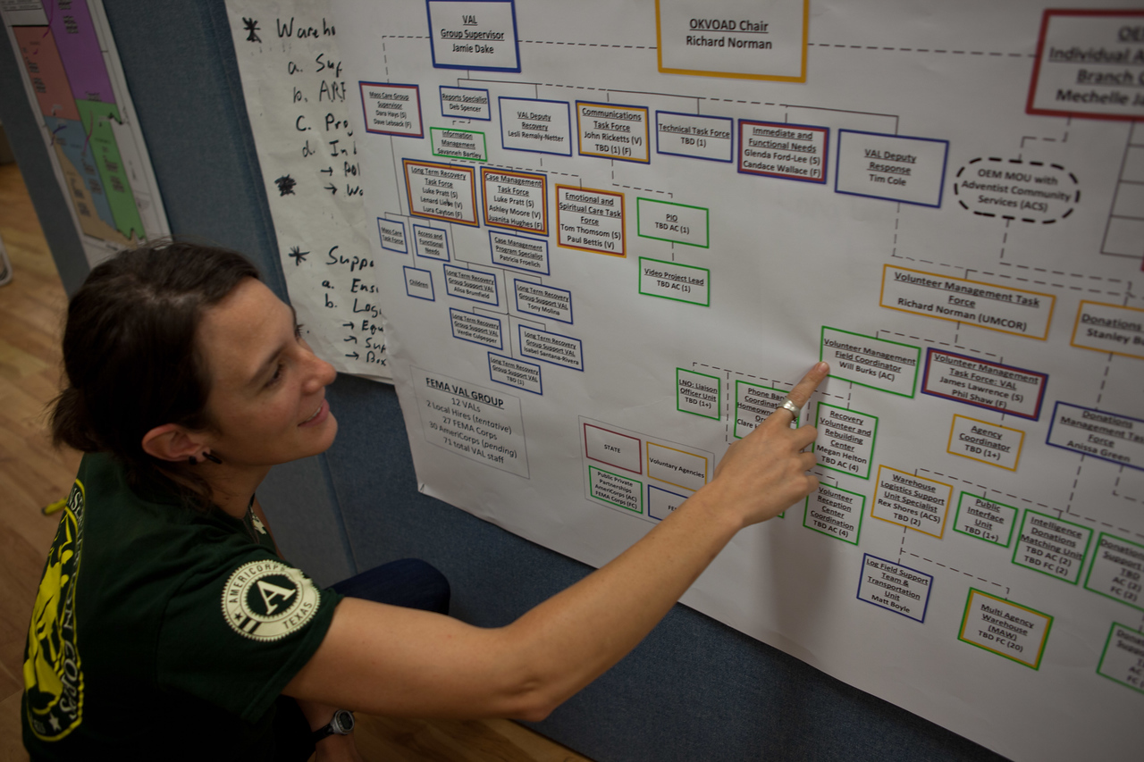 Megan Helton of the Texas Conservation Corps explains a flow chart inside the FEMA JFO in Oklahoma City, OK. Corporation for National and Community Service Photo.