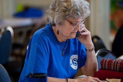An RSVP member works in a call center during recovery efforts after the April, 2011 Joplin tornado. Corporation for National and Community Service Photo.