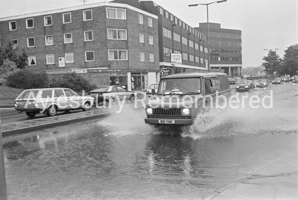 Exchange Street floods, Aug 1986