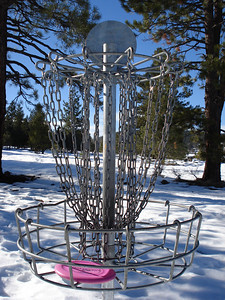 Truckee Disc Golf Course 12-07-2010 Tenth Basket, looking back at tee.