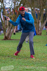 Jeremy Koling throws his third shot across Winthrop Lake on hole  no. 5 during round 3 of the 2016 USDGC.