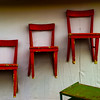 """<center><h2>'Red Chairs - Green Table'</h2> Round Top, Texas -Antique Faire-  An Open Edition Matted 16""""x 20""""  Luster  paper (12mil)  ©2014 R. Gallet  </center>"""