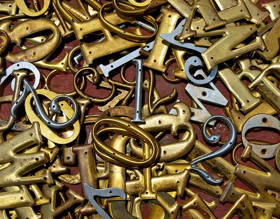 <center><h2>' Brass Alphabet'</h2> Scott's Antiques, Atlanta, GA</center>