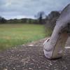 Shoe on bridge wall. Pergatory, Oxfordshire.