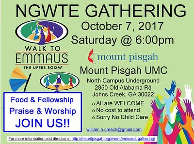 Emmaus Gathering Oct 7th 2017 at Mount Pisgah UMC